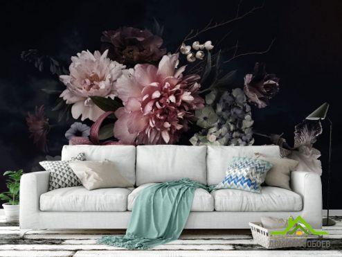 обои Цветы Фотообои Винтажный тёмный букет