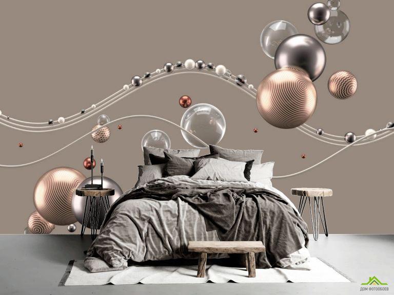 Фотообои Золотые 3д шары