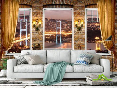 обои Вид из окна Фотообои Вид из окна на мост