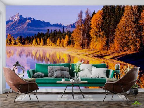 Природа Фотообои осенние деревья над озером