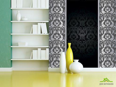 Стиль Барокко Фотообои Вензельные узоры на чёрном фоне
