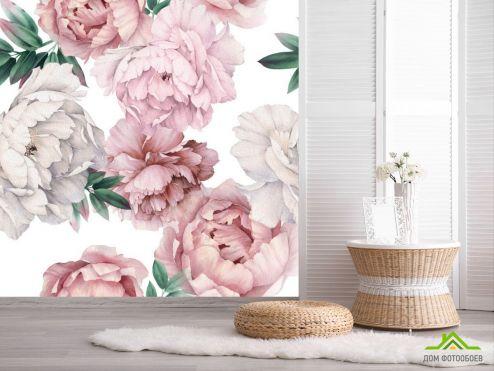 обои Цветы Фотообои Акварельные пионы