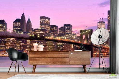 Фиолетовые  Фотообои Зачарованный  мост Нью-Йорка