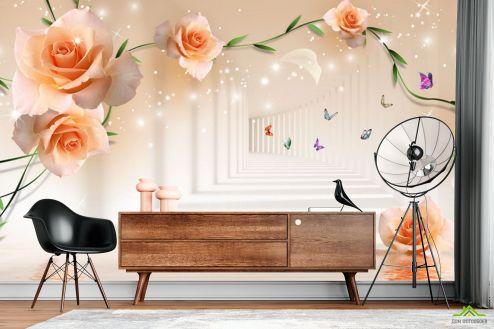 3Д  Фотообои Тонель с оранжевыми цветами