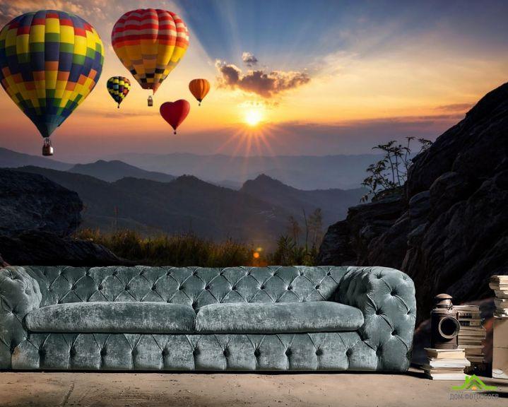 Фотообои воздушные шары сердечки