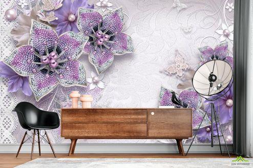 Фиолетовые  Фотообои 3d брошь+цветы