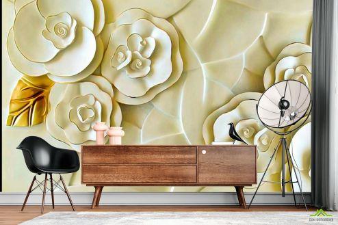 3Д  Фотообои Керамические цветы цвета слоновой кости
