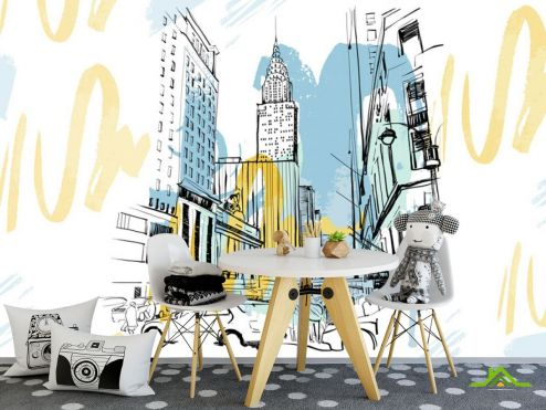 для подростка Фотообои Город в стиле иллюстраций