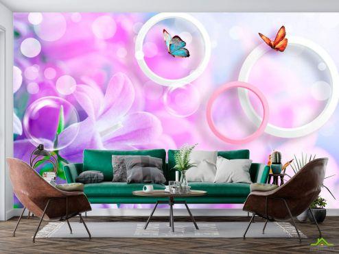 стереоскопические Фотообои Сирень и бабочки
