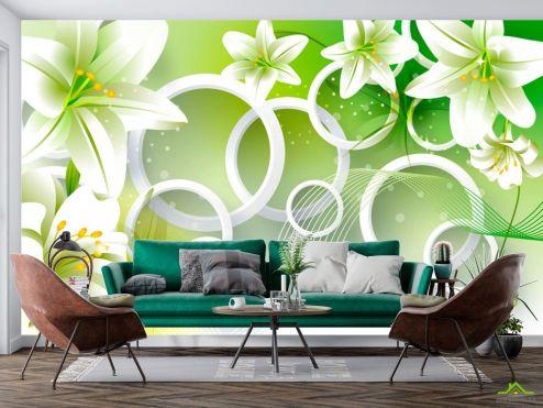 стереоскопические Фотообои Зеленые лилии
