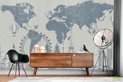 Фотообои карта Мира по выгодной цене Фотообои Карта винтажная