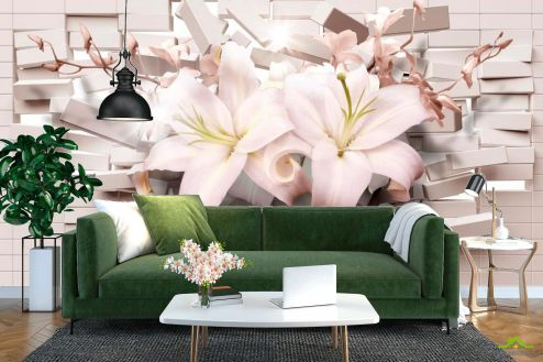 Серые  Фотообои 3d лилии