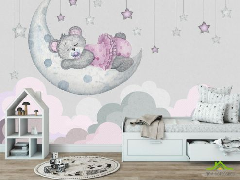 в детскую Фотообои Розовый мишка для детской