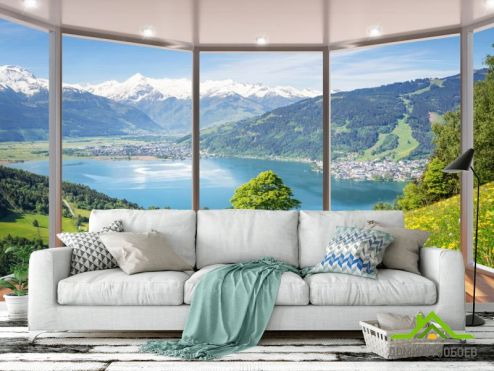 обои Вид из окна Фотообои  Вид из окна на озеро
