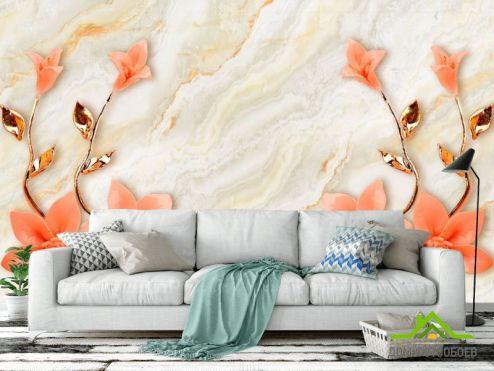 обои 3Д барельеф Фотообои Оранжевые цветы с ветками