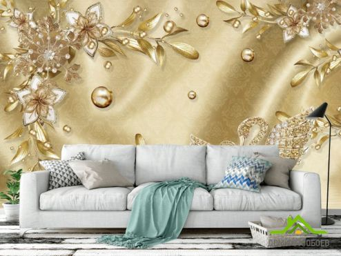 3Д обои Фотообои  Золотые листья