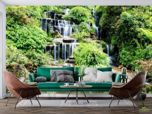 Природа Фотообои водопад среди зелени