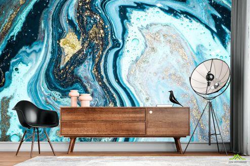 Каменная стена Фотообои Fluid Art голубой