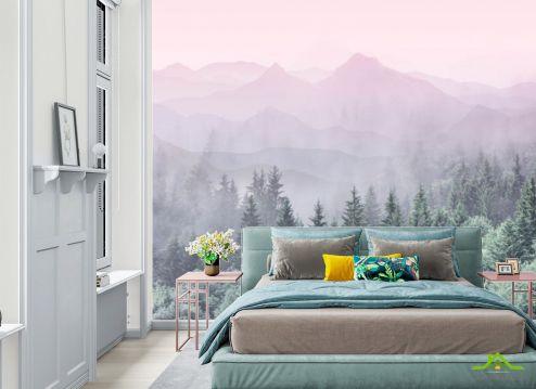 фотошпалери в спальню Фотошпалери ліс з рожевими горами