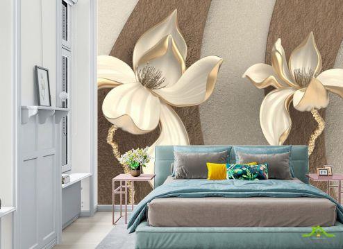 Фотообои в спальню по выгодной цене Фотообои 3д объёмные цветы