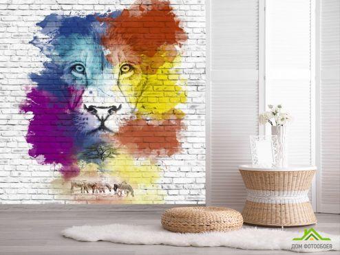 обои Животные Фотообои Акварельный лев
