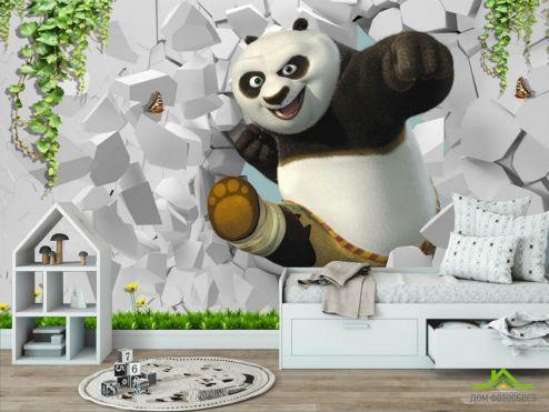 в детскую  Фотообои Панда детская 3д