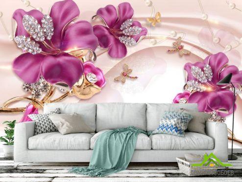 3Д барельеф Фотообои Шикарные розовые брошки