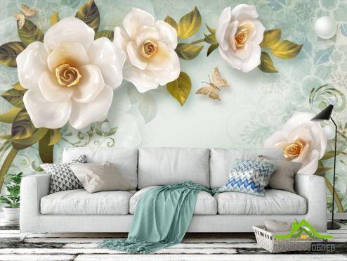 3Д  Фотообои Керамические цветы