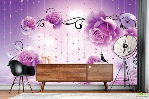 стереоскопические Фотообои Фиолетовые 3d цветы
