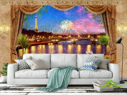 Фотообои Вид из окна по выгодной цене Фотообои Вид из окна на ночной Париж