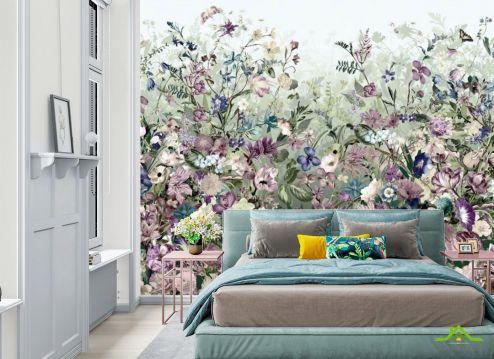 Фотообои в спальню по выгодной цене Фотообои Цветочная стенка