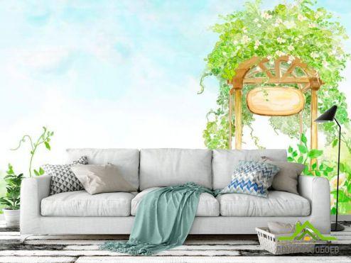 обои Иллюстрации Фотообои Арка с цветами