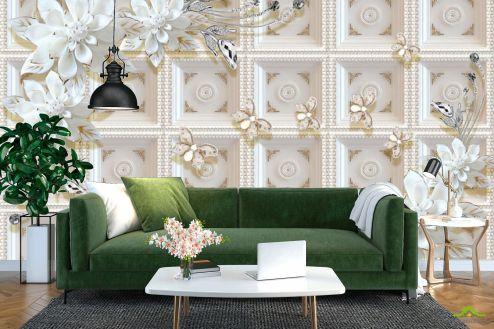3Д барельеф Фотообои Керамические цветы на фоне золотой стены