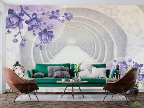 Расширяющие пространство  3д фотообои Тоннель с фиолетовыми цветами купить