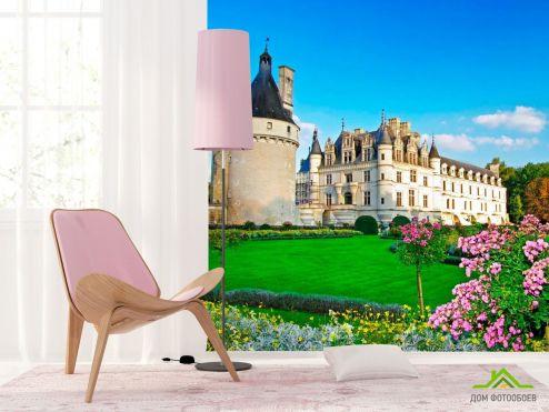 обои Архитектура Фотообои Замок с клумбами