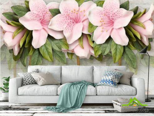 3Д  Фотообои Розовые цветы