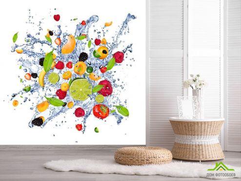 обои Еда и напитки Фотообои фрукты и вода