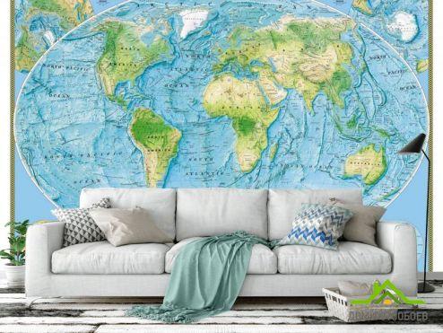 Синие  Фотообои Физическая карта мира