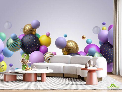 в гостиную Фотообои Разноцветные 3д шары