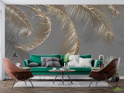 Фотообои перья по выгодной цене Фотообои Золотые перья