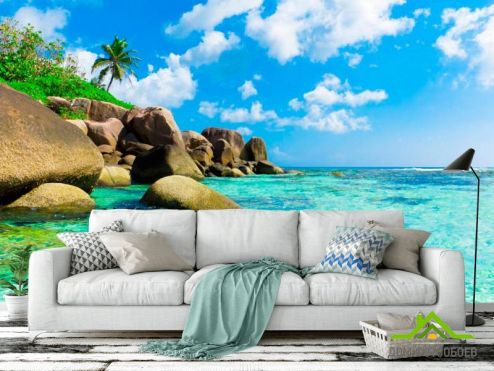 обои Море Фотообои Валуны, вода бирюзовая
