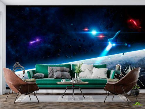 Космос Фотообои Шатл и астероиды