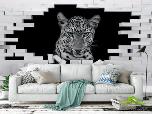 3Д обои 3д фотообои Леопард