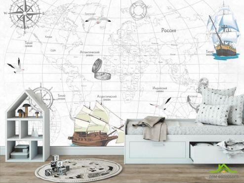 в детскую Фотообои Детская карта с кораблями