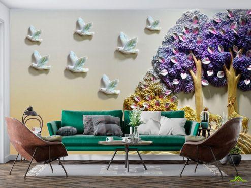 3Д барельеф Фотообои Деревья с птицами
