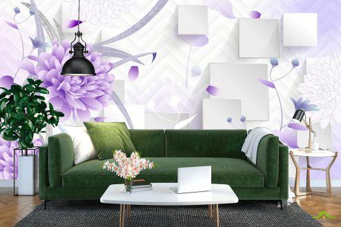 3Д  Фотообои Фиолетовые цветы 3д