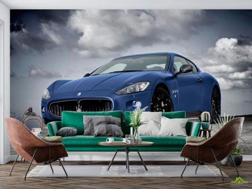 Синие  Фотообои Синяя машина