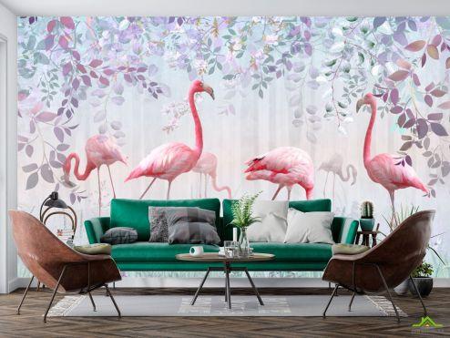 с Фламинго Фотообои Фламинго и зелень