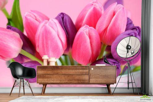 Тюльпаны Фотообои Розовые и фиолетовые тюльпаны купить
