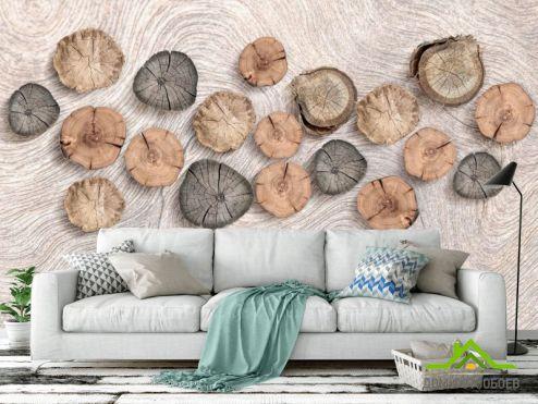 3Д  Фотообои Деревянные срубы на стене